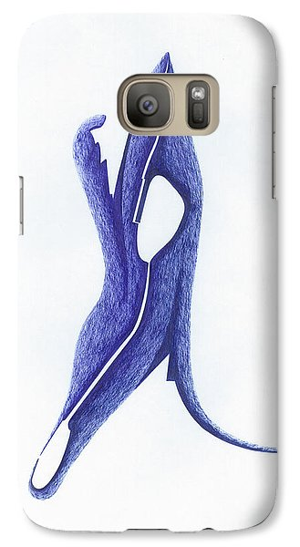 Galaxy Case featuring the drawing Two Faced by Giuseppe Epifani