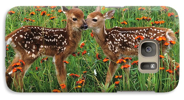 Galaxy Case featuring the photograph Two Fawns Talking by Chris Scroggins