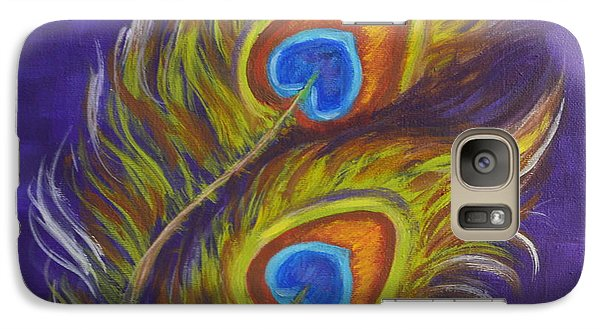 Galaxy Case featuring the painting Two Feathers by Agata Lindquist