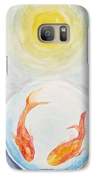 Galaxy Case featuring the painting Two Fish by Shirin Shahram Badie