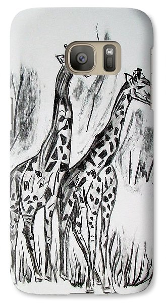 Galaxy Case featuring the drawing Two Giraffe's In Graphite by Janice Rae Pariza