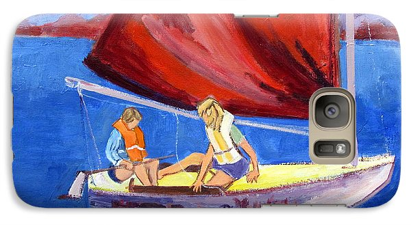 Galaxy Case featuring the painting Two Girls Set To Sail With Red Sail by Betty Pieper