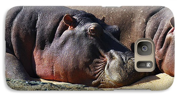 Two Hippos Sleeping On Riverbank Galaxy Case by Johan Swanepoel