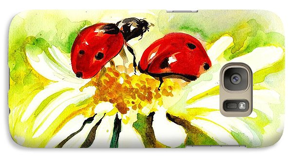 Two Ladybugs In Daisy After My Original Watercolor Galaxy Case by Tiberiu Soos