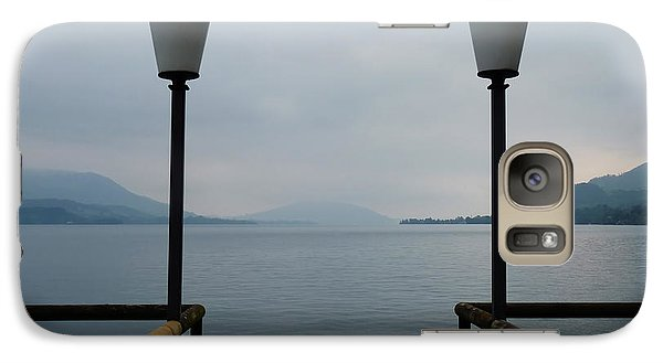 Galaxy Case featuring the photograph Two Lanterns At The Jetty Pier Of Lake Attersee by Menega Sabidussi