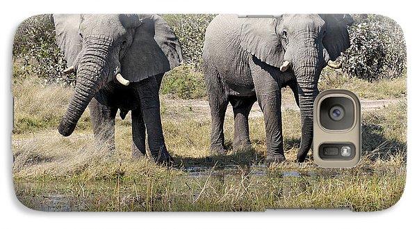 Galaxy Case featuring the photograph Two Male Elephants Okavango Delta by Liz Leyden