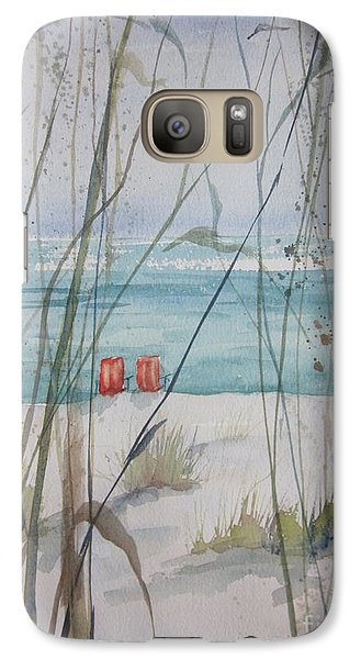 Galaxy Case featuring the painting Two Orange Chairs by Sandra Strohschein