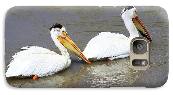 Galaxy Case featuring the photograph Two Pelicans by Alyce Taylor