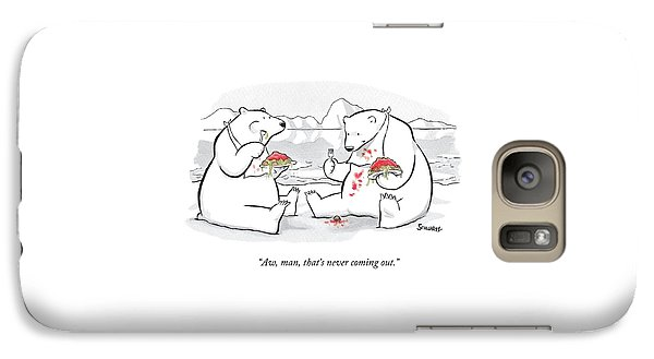 Two Polar Bears Eat Spaghetti And Meatballs.  One Galaxy S7 Case