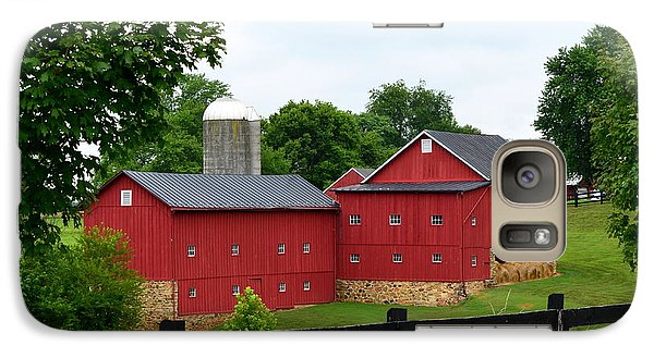 Galaxy Case featuring the photograph Two Red Barns by Cathy Shiflett