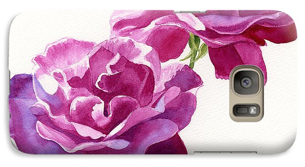 Rose Galaxy S7 Case - Two Red Violet Rose Blossoms Square Design by Sharon Freeman