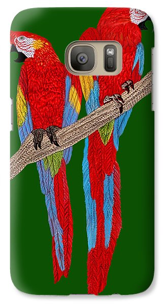 Galaxy Case featuring the digital art Two Scarlet Macaw by Walter Colvin
