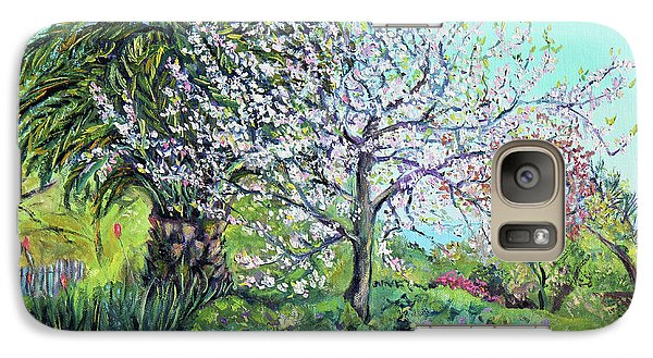Galaxy Case featuring the painting Two Trees Like Springtime Lovers by Asha Carolyn Young
