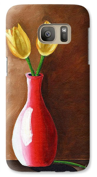 Galaxy Case featuring the painting Two Tulips And A Pink Rose by Laura Forde