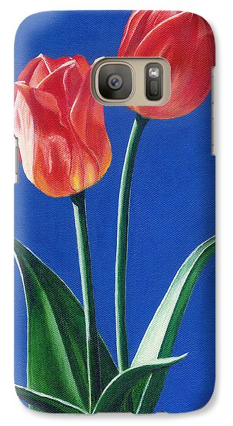 Galaxy Case featuring the painting Two Tulips by Janice Dunbar