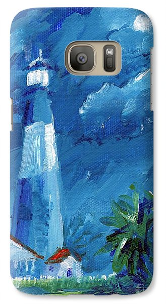Galaxy Case featuring the painting Tybee Lighthouse Night Mini by Doris Blessington
