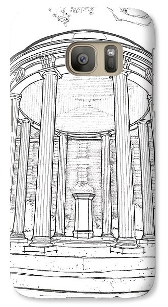 Galaxy Case featuring the drawing U N C Old Well by Calvin Durham