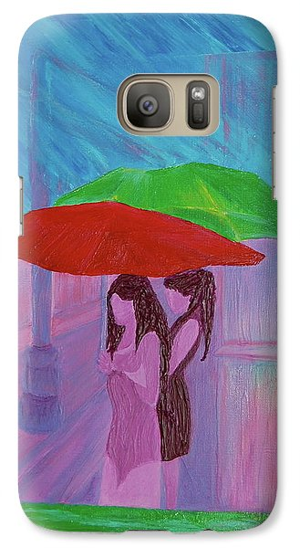 Galaxy Case featuring the painting Umbrella Girls by First Star Art