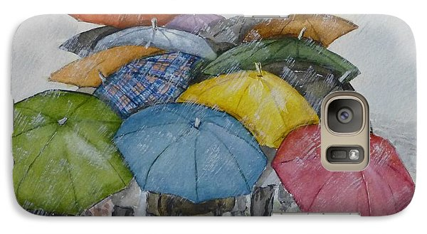 Galaxy Case featuring the painting Umbrella Huddle by Kelly Mills