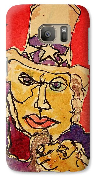Galaxy Case featuring the painting Uncle Sam Defy Tyranny by Rand Swift