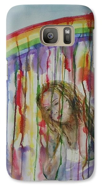 Galaxy Case featuring the painting Under A Crying Rainbow by Anna Ruzsan