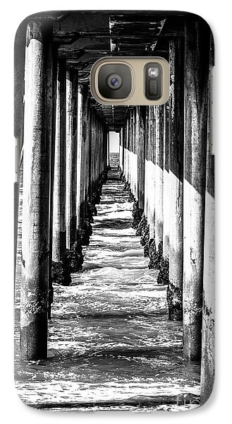 Under Huntington Beach Pier Black And White Picture Galaxy Case by Paul Velgos