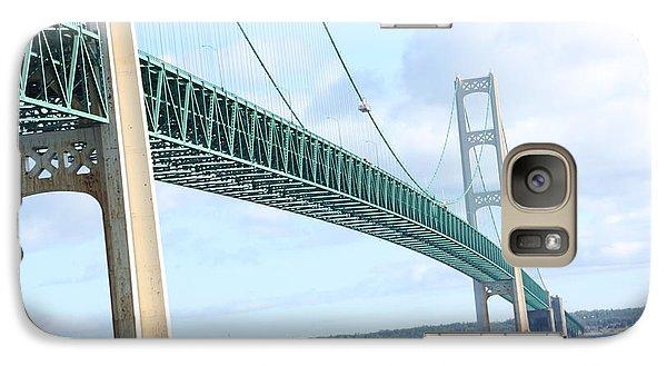 Galaxy Case featuring the photograph Under Mackinaw Bridge Lake Huron Pov by Bill Woodstock