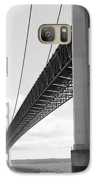 Galaxy Case featuring the photograph Under Mighty Mac Lake Michigan Black And White by Bill Woodstock