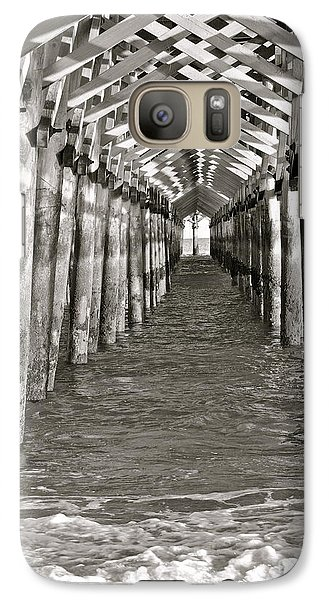 Galaxy Case featuring the photograph Under The Boardwalk - B/w by Eve Spring