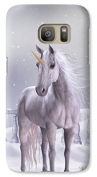 Galaxy Case featuring the digital art Unicorn In The Snow by Jayne Wilson