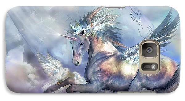 Unicorn Of Peace Galaxy Case by Carol Cavalaris
