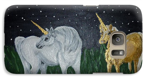 Galaxy Case featuring the painting Unicorns For Julie by Cassandra Buckley