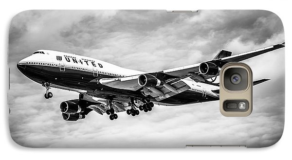 United Airlines Airplane In Black And White Galaxy S7 Case