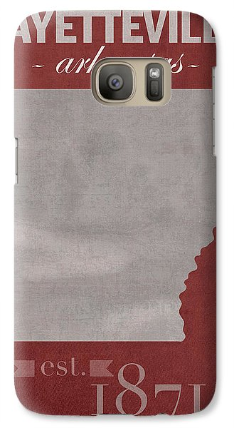 University Of Arkansas Razorbacks Fayetteville College Town State Map Poster Series No 013 Galaxy S7 Case by Design Turnpike