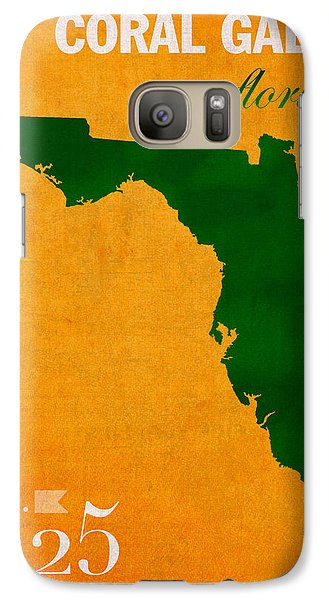 University Of Miami Hurricanes Coral Gables College Town Florida State Map Poster Series No 002 Galaxy S7 Case by Design Turnpike