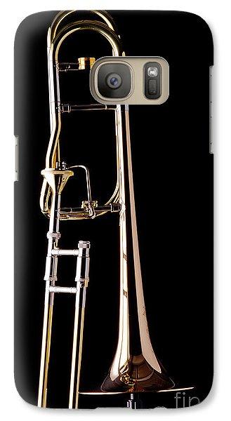 Trombone Galaxy S7 Case - Upright Rotor Tenor Trombone On Black In Color 3465.02 by M K  Miller