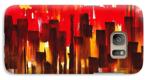 Galaxy Case featuring the painting Urban Abstract Glowing City by Irina Sztukowski