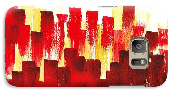 Galaxy Case featuring the painting Urban Abstract Red City Lights by Irina Sztukowski