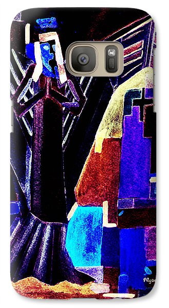 Galaxy Case featuring the painting Urban Angel Of Dark by Paula Ayers