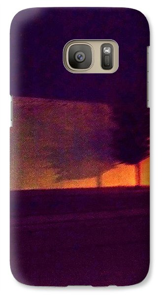 Galaxy Case featuring the photograph Urban Tree At Night by Carolyn Repka