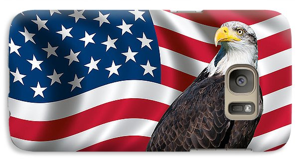 Galaxy Case featuring the photograph Usa Flag And Bald Eagle by Carsten Reisinger