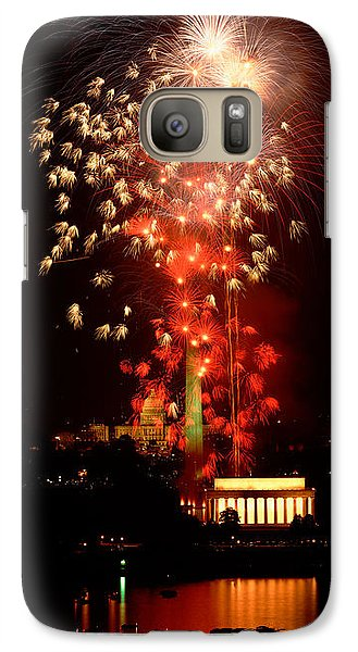Lincoln Memorial Galaxy S7 Case - Usa, Washington Dc, Fireworks by Panoramic Images