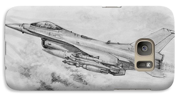 Galaxy Case featuring the drawing Usaf F-16 Fighting Falcon by Jim Hubbard