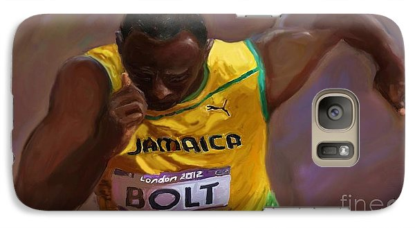 Galaxy Case featuring the painting Usain Bolt 2012 Olympics by Vannetta Ferguson