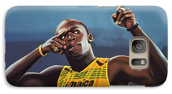 Usain Bolt Painting Galaxy S7 Case by Paul Meijering