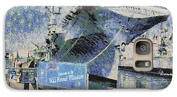 Galaxy Case featuring the painting Alameda Uss Hornet Aircraft Carrier by Linda Weinstock