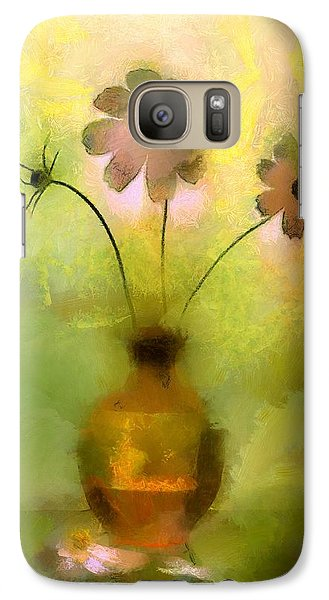 Galaxy Case featuring the painting Vase And Flower Glow by Wayne Pascall