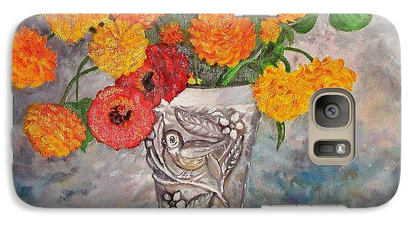 Galaxy Case featuring the painting Vase With Bird by Nina Mitkova