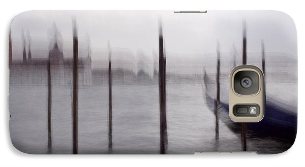 Galaxy Case featuring the photograph Abstract Black And White Blue Venice Italy Photography Art Work by Artecco Fine Art Photography