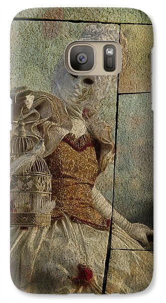 Galaxy Case featuring the photograph Venitian Carnival-bird In A Cage by Barbara Orenya